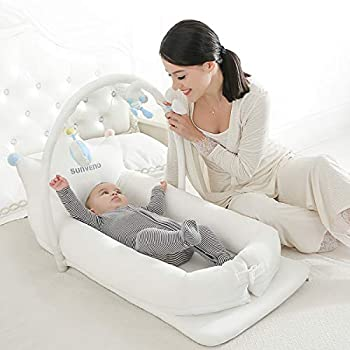 Image of SUNVENO Portable Baby Bed Infant Lounger – Carrier, Crib, Playpen, Changing Station, Bassinet for Babies 0-24 Months – Lightweight, Plush, Hypoallergenic – Includes Carrying Case Baby