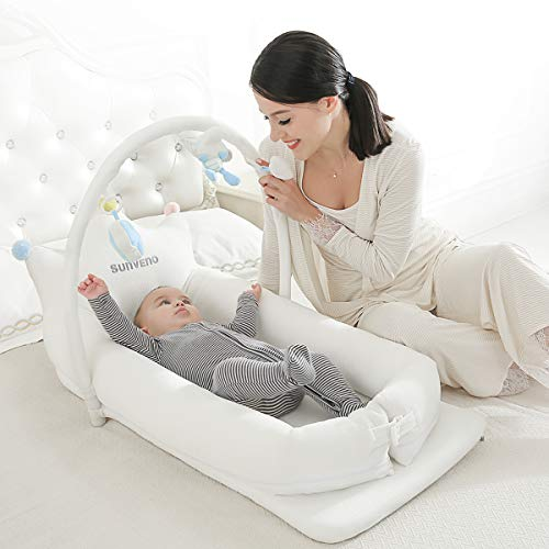 SUNVENO Portable Baby Bed Newborn Co Sleeping Lounger, Soft Cotton Baby Bed Breathable for 0-12 Months Newborn Babies…