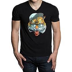 Men's Fresh Snapback Tiger Black V-Neck T-Shirt Small Black