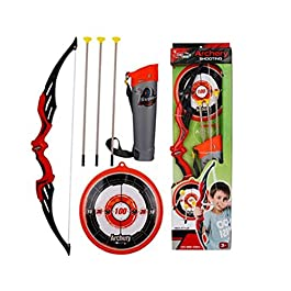 Ajmeri Archery Bow & Arrow Toy Set for Kids, Shooting-Set with Target, Quiver and Suction Cup Arrows, Age 5, 6, 7, 8, 9…