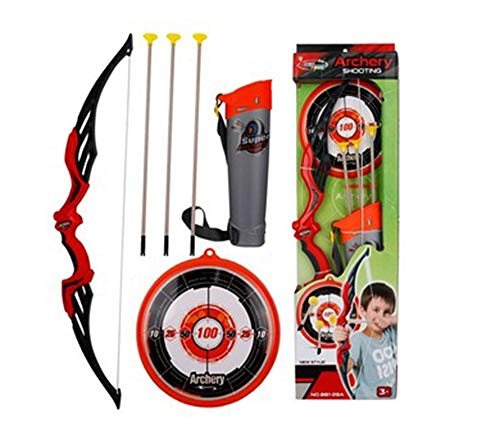 Ajmeri Archery Bow & Arrow Toy Set for Kids, Shooting-Set with Target, Quiver and Suction Cup Arrows, Age 5, 6, 7, 8, 9 Years Old Boys and Girls