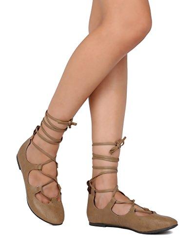 Breckelles Fi18 Kvinner Leather Snøring Ankelen Wrap Ballett Flat Naturlig