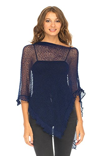 Blue Shrug - SHU-SHI Womens Sheer Poncho Shrug Lightweight Knit with Ruffle One Size Fits Most