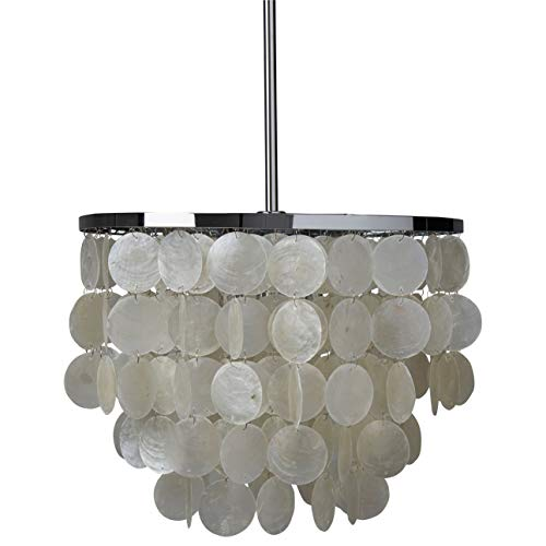Rivet Capiz Shell Ceiling Pendant Chandelier Lighting Fixture With Light Bulbs - 13 x 13 x 19.5 - 61.5 Inches, Chrome