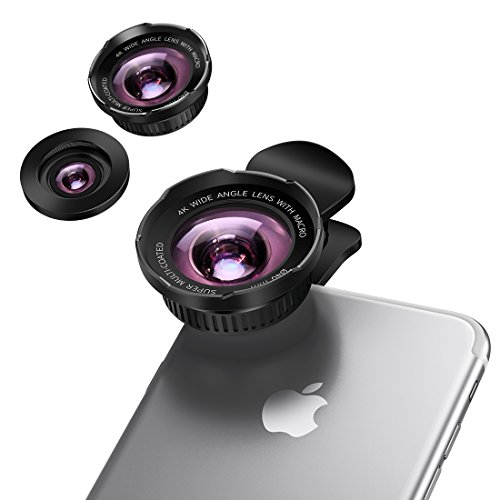 Phone Camera Lens, [Upgraded Version] 2 in 1 Phone Camera Kits 130 ° Wide Angle Lens +15X Micro Lens, Clip on Cell Phone Lens for iPhone & Most Smartphones