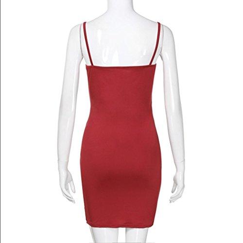 UFACE Ärmelloses lässiges Minikleid für Damen Vintage Kleid Rockabilly Kleid  Mit Blumen Rot P12LTnd ... 51d27713b9
