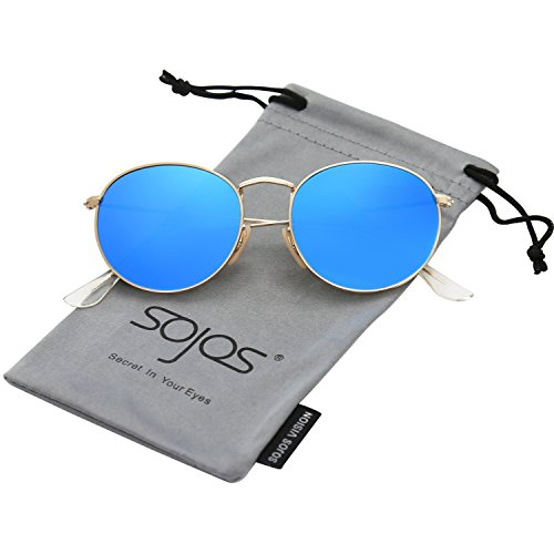 SojoS Small Round Polarized Sunglasses Mirrored Lens Unisex Glasses SJ1014 3447 With Gold Frame/Blue Mirrored Lens (Blue Sun Glasses)