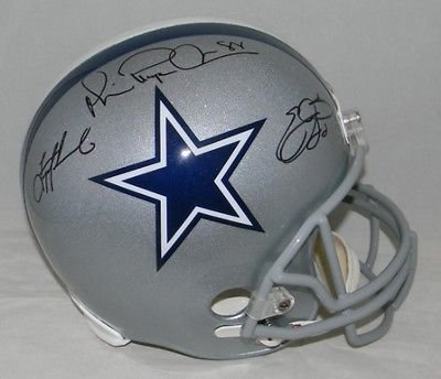 Emmitt Smith Troy Aikman Michael Irvin Signed Dallas Cowboys Triplets Helmet (authenticated by PSA/DNA) ()