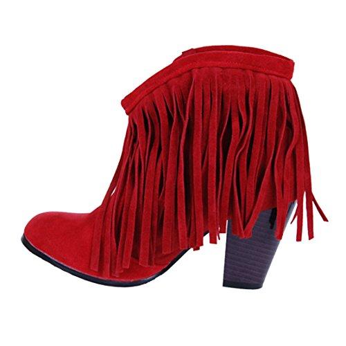 Aiyoumei Femmes Bout Rond Bloc Talons Gland Chaussures Automne Hiver Nubuck En Cuir Cheville Bottes Rouge