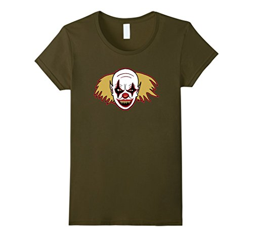 Womens Clown Drawing T-Shirt For Spooky Halloween Costume Party Top Small (Spooky Drawings For Halloween)
