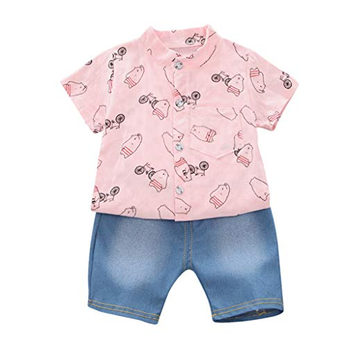 Toddler Baby Boy Short Sleeve Bear Pattern Shirt Tops+ Denim Pants Set,6M-3Y,SIN vimklo Pink