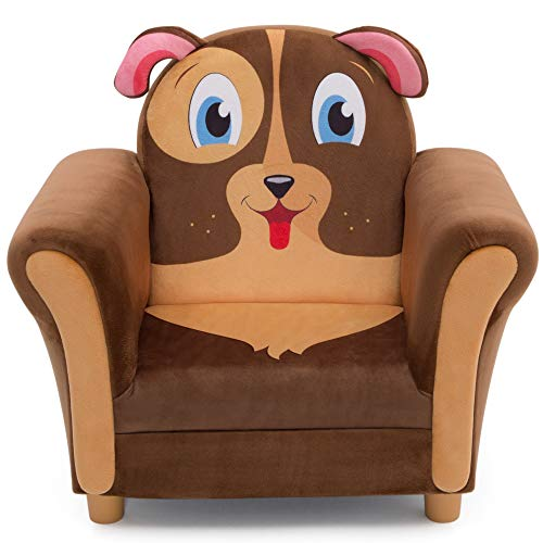 Delta Children Cozy Children's Chair - Fun Animal Character, Brown - Puppy Boys Toddler