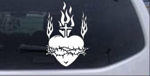 Sacred Heart Sticker (Sacred Heart Christian Car Window Wall Laptop Decal Sticker -- White 4in X)