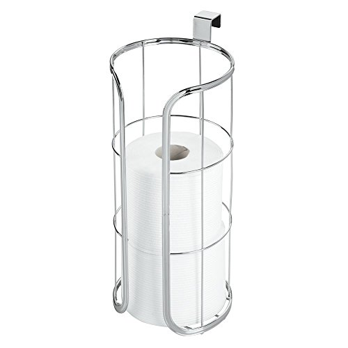 Over Tank Toilet Paper Holder - mDesign Modern Over The Tank Hanging Toilet Tissue Paper Roll Holder and Reserve for Bathroom Storage - Stores 3 Extra Rolls, Holds Jumbo-Sized Rolls - Durable Metal Wire - Chrome