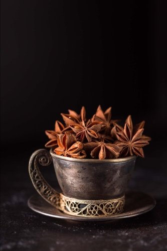 - Star Anise and Burnished Bronze Coffee Cup with Gold Filigree Still Life Journal: 150 Page Lined Notebook/Diary