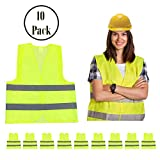 High Visibility Safety Vest Yellow 10 Pack, Reflective Hi Vis, Silver Straps, Breathable Mesh | for Construction, Security, Traffic, Hiking, Outdoors, Running, Jogging, Walking Bicycling, Airport
