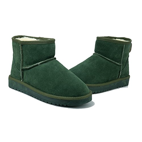 Allhqfashion Womens Pull-on Lage Hakken Geïmiteerd Suède Solide Low-top Snow-boots Groen