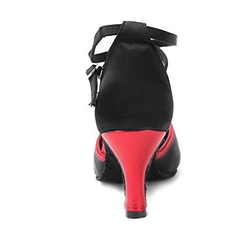 cl Hipposeus Bal rouge Chuaussures standard amp; Salle Latines Danse Filles F Femmes En noir Frwx De Pour Danse maquette Chaussures Satin qrExRqTwg