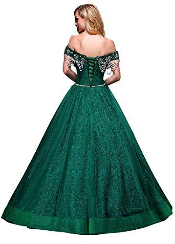 Boot Prinzessin Ausschnitt weg Band Spitze Beauty Emily reizvolle Ballhochzeitskleider Grün vom Schulter Hxwtpqzp4