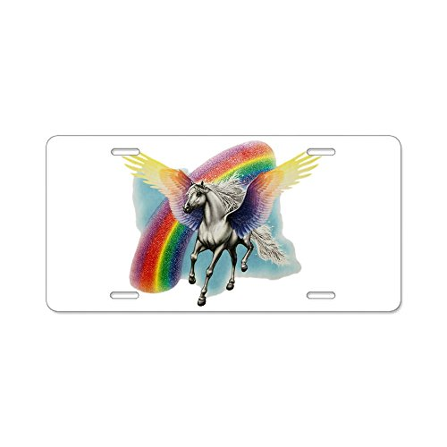 Aluminum License Plate Pegasus Horse with Rainbow