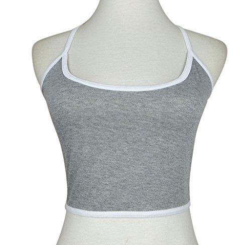 Ularma Moda Las mujeres Boho tanque Bustier Bra chaleco cultivo superior Bralette blusa Cami gris