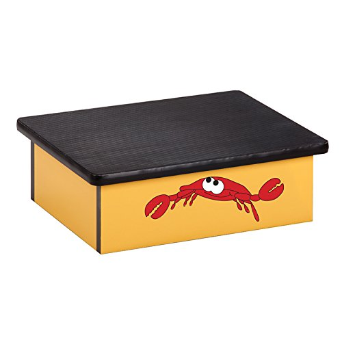 Pediatric Equipment - 20'' x 16'' x 7'' Ocean Crab Yellow Laminate Pediatric Step Stool - CL-10-O by Miller Supply Inc