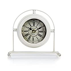 Dannto Vintage Metal Numerals Non-ticking Clock Battery Operated Craft Table Clock For Living Room Home Decor (One size, White-round)