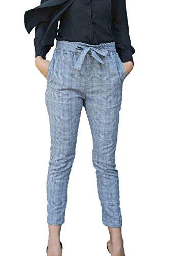 Primaverile In Alta Elegante Donna A Pantaloni Pantaloni Donne Coulisse Casuale Lunga Con Pantaloni Moda Con Elastico Grey Ragazze Slim Matita Fit Vita Vita Battercake Reticolo Pantaloni Festivo WHYPqBBz