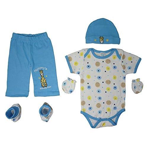 Mon Cheri Baby 5-Piece Baby Layette Gift Set Bodysuit,Pants,Cap,Booties /& Mitts