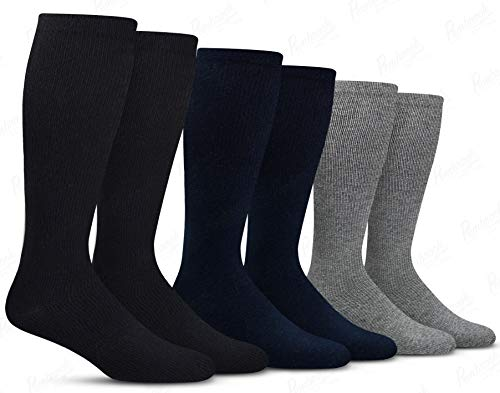 Men's Compression Socks (6-Pack) - L/XL - Black, Gray, Navy - Graduated Muscle Support, Relief and Recovery. Great for Running, Medical, Athletic, Diabetic, Travel, Nursing (8-15 mmHg) (Golf Socks High)
