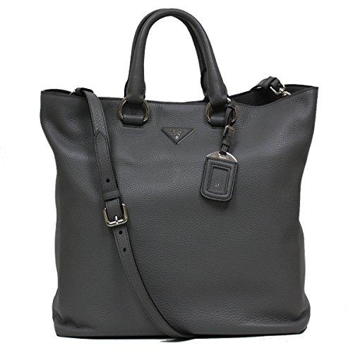 Prada Textured Grey Leather Shopping Tote Bag Large Shoulder Handbag BN1713