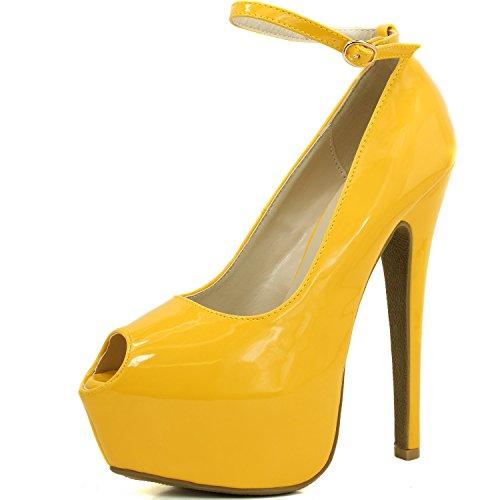 Women's Extreme High Fashion Ankle Strap Peep Toe Hidden Platform Sexy Stiletto High Heel Pump Shoes OrangePatent-07