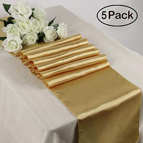 - TRLYC Pack of 5 Gold Satin Runner 12