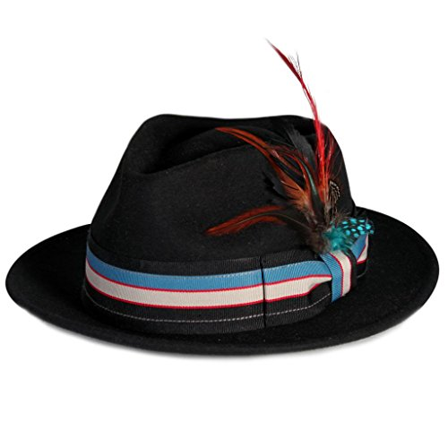 City Hunter Pmw89 Pmoa Wool Felt Fedora with Multi Feather Trim (Black - Large )