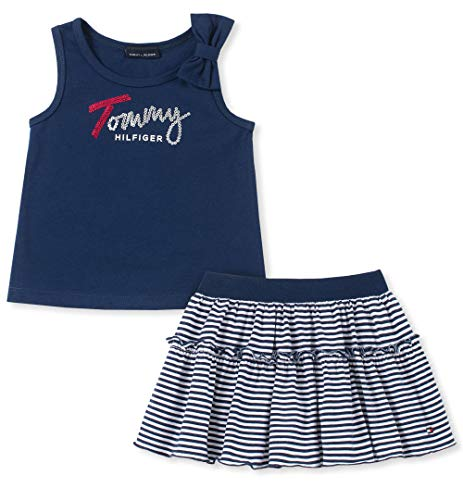 Tommy Hilfiger Girls' Toddler 2 Pieces Shorts Set, Navy/White 4T
