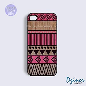 iPhone 5c Case - Wood Red Aztec Pattern iPhone Cover (NOT REAL WOOD)