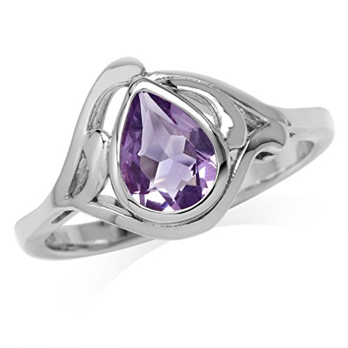1.07ct. Natural Pear Shape Amethyst White Gold Plated 925 Sterling Silver Solitaire Ring Size 6