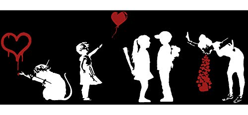 There is Always Hope - Ballon Girl, Love Rat, Girl Meets Boy, Lovesick, Banksy Inspired Decals (Love White + Red)