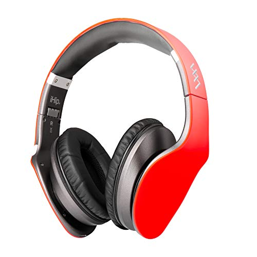 (iHip Side Swipe Touch Control Wireless Bluetooth Headphones Over Ear - Foldable, Soft Memory-Protein Earmuffs, w/Built-in Mic and Wired Mode for PC/Cell Phones/TV - RED -Touch Only )
