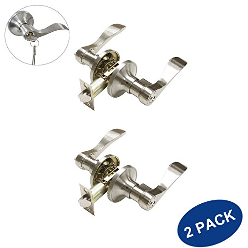 Knobonly Entrance Keyed Door Handles Right or Left Handed Lockset Wave Style Entry Door Levers Satin Nickel Finish-2pack
