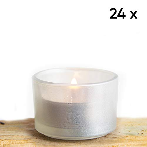 (Premium Set of 24 Silver Opalescent Tea Light Candle Holder Ideal for Weddings, Parties, Special Events, Wholesale Bulk Pack Tealight)