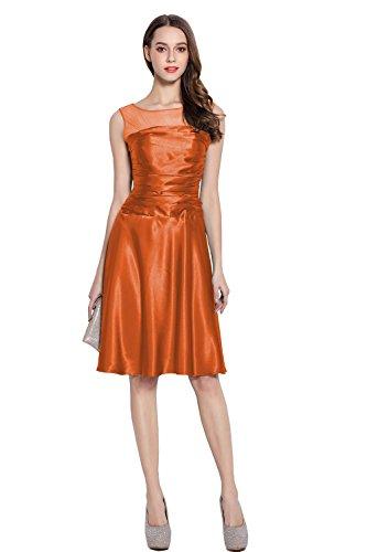 orange satin prom dress - 3