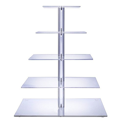 BonNoces 5 Tiers Square Acrylic Large Pastry Cupcake Stands Holders Tree-Clear Round Wedding Cake Stand-Cupcake Tower Stand Display-Cupcake Carriers for Wedding Party (Glass Holders Cake)