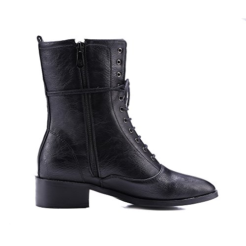 Allhqfashion Women's Square Closed Toe Low-Heels Soft Material Low-top Solid Boots Black nBlWOk