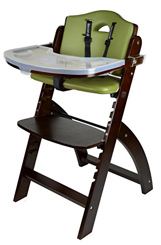 Abiie Beyond Wooden High Chair with Tray. The Perfect Adjustable Baby Highchair Solution for Your Babies and Toddlers or as a Dining Chair. (6 Months up to 250 Lb) (Mahogany -