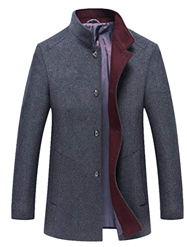 Mordenmiss Men's Wool Trench Coats Winter Warm Business Jacket Overcoat Outwear M Dark Gray - Wool Windbreaker