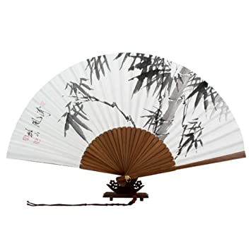 Eventail Decoration Bambou Calligraphie Chinoise Papier Amazon Fr