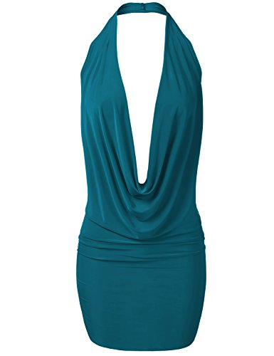 Lightweight Sexy Low Cut Halter Loose Front Draping Dresses