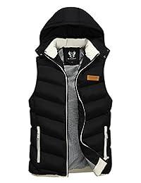 Feoya Men's Women's Winter Sleeveless Jacket Boys Zipper Outerwear Hooded Vest