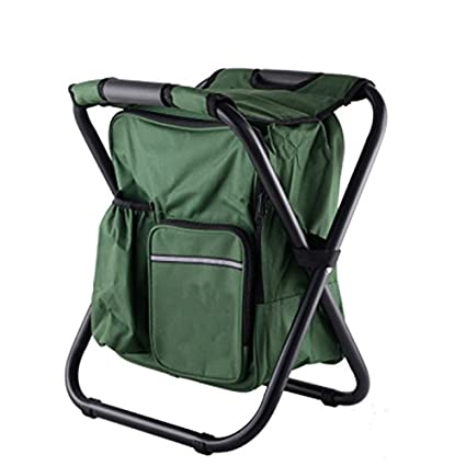 SODIAL Backpack Chair Portable Camping Stool Foldable Chair with Double Layer Oxford Fabric Cooler Bag for Fishing Camping House and Outing Black